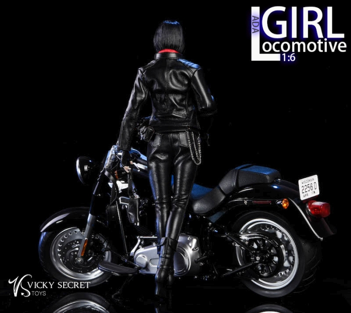 Black Leather Like Motorcycle Jacket 1//6 scale toy Locomotive Girl Ada
