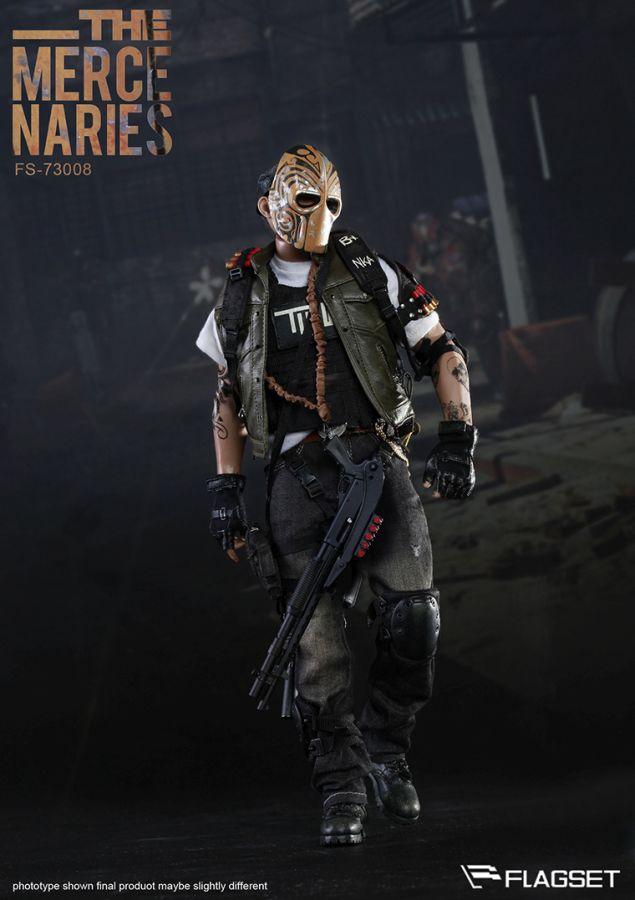 2 Black Pouches 1//6 Scale Flagset Action Figures Masked Mercenaries