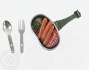 Feldgeschirr Deckel mit Mahlzeit + Gabel + Löffel