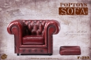 British Chesterfield Sessel - rot/braun
