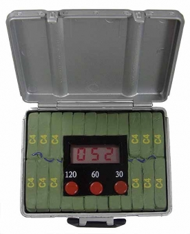 C4 Bombenkoffer mit Countdown und Sound