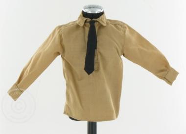 Hemd - braun - mit schwarzer Krawatte