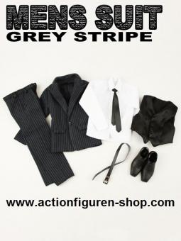 Men Suits Set - Grey Stripes