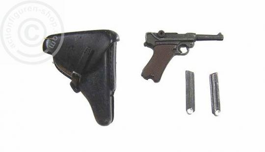 Pistole P08 (beweglich) mit Holster und 2 Magazinen