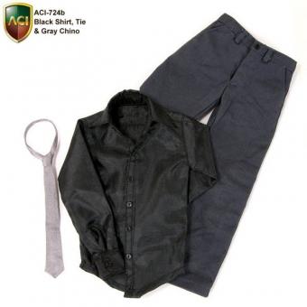 Black Shirt and Chino Pants Set