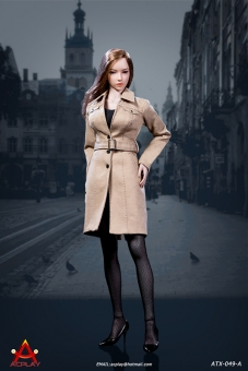 Female Trench Coat Suit - light-brown