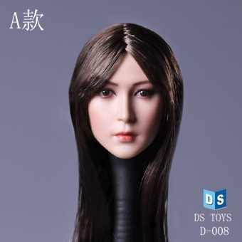 Female Head - long Black-Brown Hair