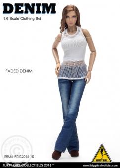Denim Fashion Clothing Set - Faded