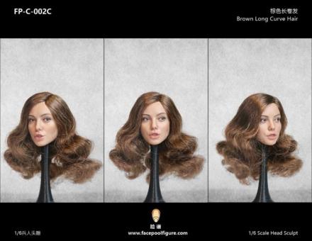 Kopf - weiblich - weiß - brown long Curve Hair