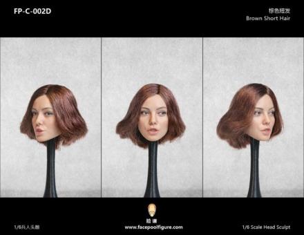 Kopf - weiblich - weiß - brown short Hair