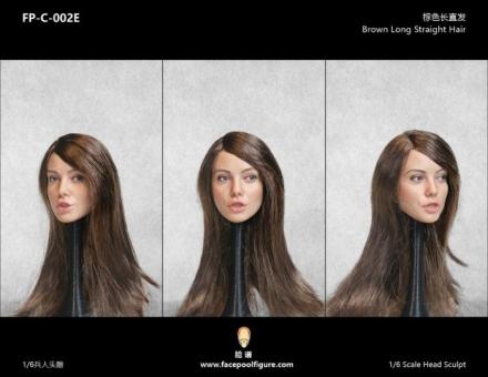 Kopf - weiblich - weiß - brown long straight Hair