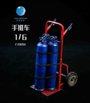 Hand Truck with 3 blue Gas Bottles