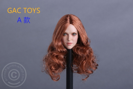 Female Head - red-brown long Hair