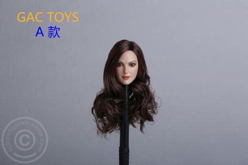 Female Head - brown long curly Hair