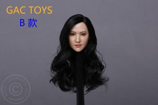 Female Head - black long curly Hair