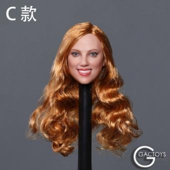 Female Head long curly gold-blond Hair