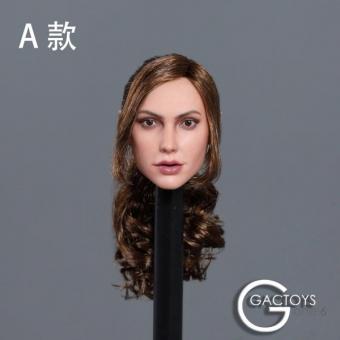Female Head long curly brown Hair w/ Pig-Tail