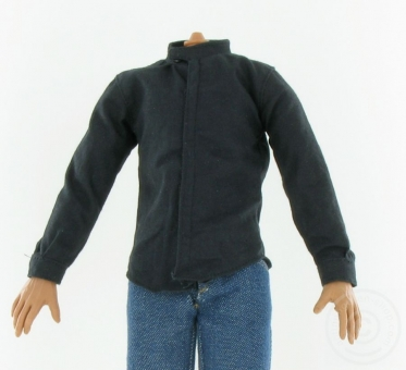 Hemd - Stehkragen - schwarz