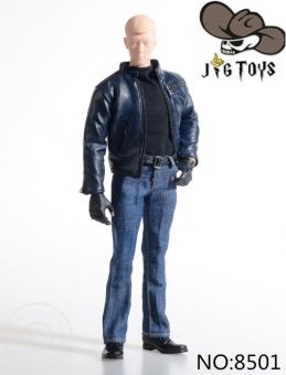 Blue Leather Suit Set