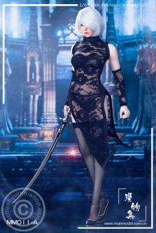 MISS Lace Cheongsam Set - schwarz