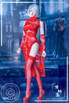 MISS Lace Cheongsam Set - red