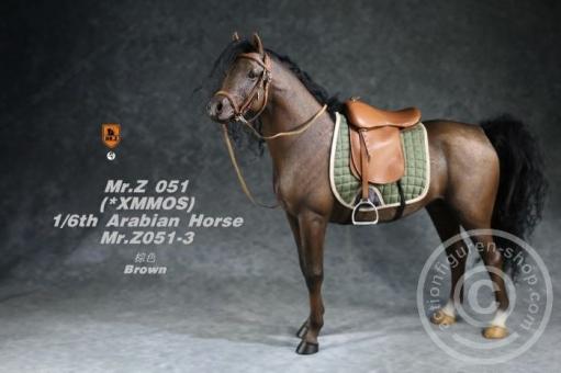 Arabian Horse w/ full European Harness - dark-brown