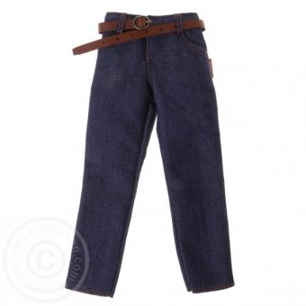 Blue Jeans Hose mit Leder Gürtel