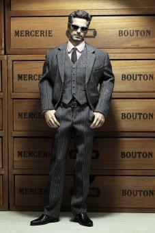 Mens striped Suit Set - light-grey