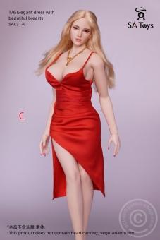 Elegant Dress w/ great Dekoltee - red