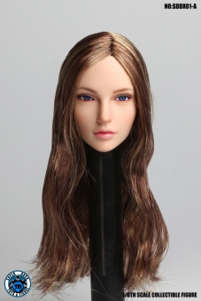 Female Head movable Eyes - brown long Hair