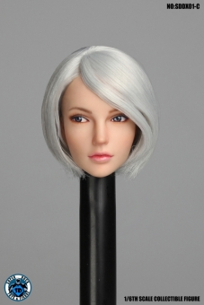 Female Head movable Eyes - silver/blond short Hair
