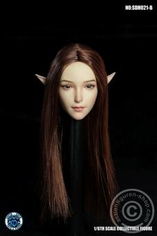 Female Head w/ detachable Elf-Ears - brown long Hair
