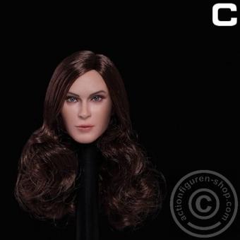 Female Head - dark brown long curly Hair