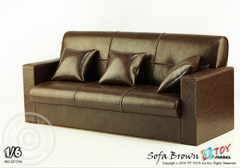 3er Sofa - braun - für 1:6 Figuren
