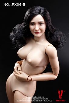 Female Body with Head - schwarze gelockte Haare