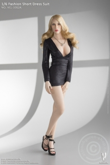 Fashion Short Dress Suit - black