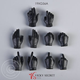 Gloved Hand Set for female Bodys/Figures - black