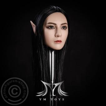 Female Head - black Hair - 2 pairs of ears