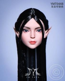 Elf 2.0 Head - black Hair - 2 pairs of ears