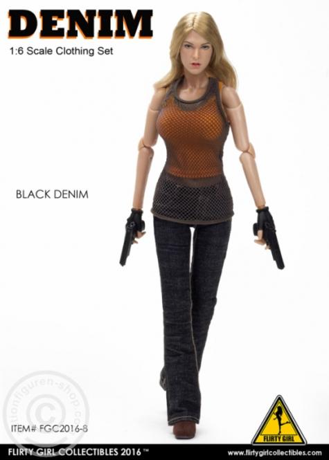 Denim Fashion Clothing Set - Black