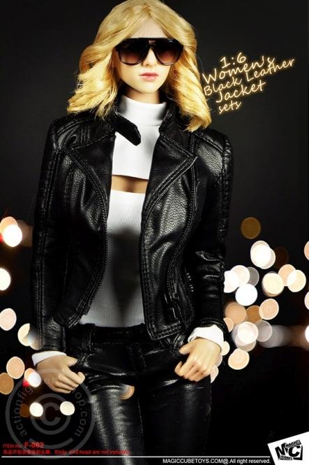 Womens Black Leather Jacket Set