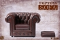 British Chesterfield Single Sofa - brown