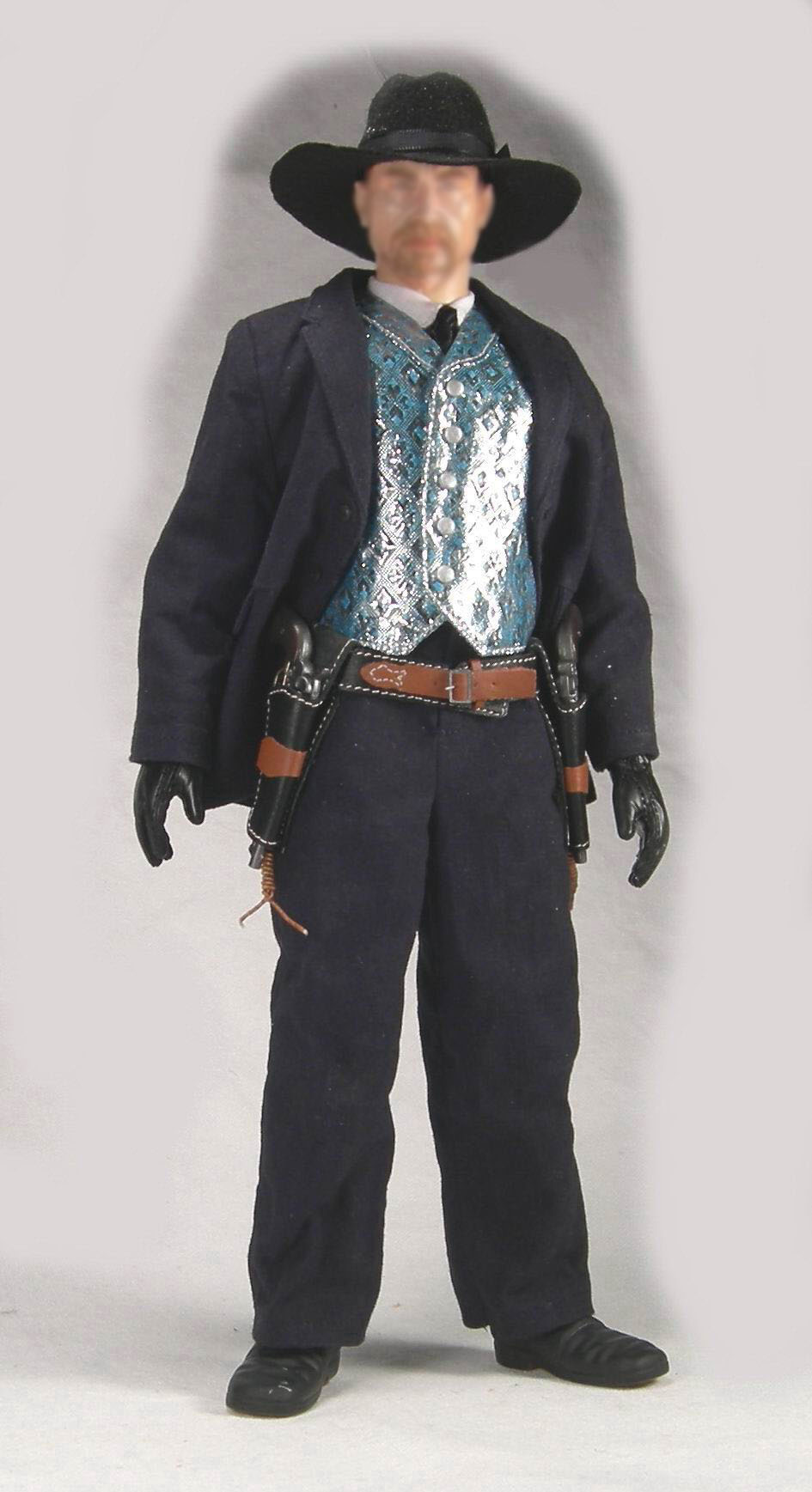 1//6 Battle Gear Toys Gilet Cowboy Gambler 508 01 Argenté Waistcoat Western
