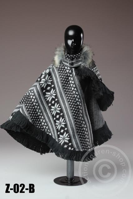 poncho mit fellkragen schwarz wei online 1 6 figuren und. Black Bedroom Furniture Sets. Home Design Ideas
